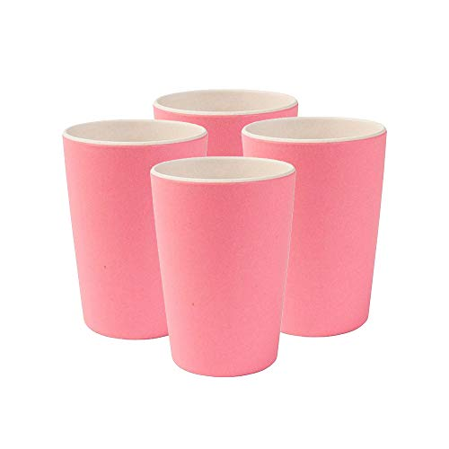 BIOZOYG Nachhaltige Bunte Trinkbecher aus Bambus, spülmaschinenfest, BPA frei I Picknickgeschirr Kinderbecher I 4 Stück Bambus Becher Kinder Natur weiß/rosa 300 ml