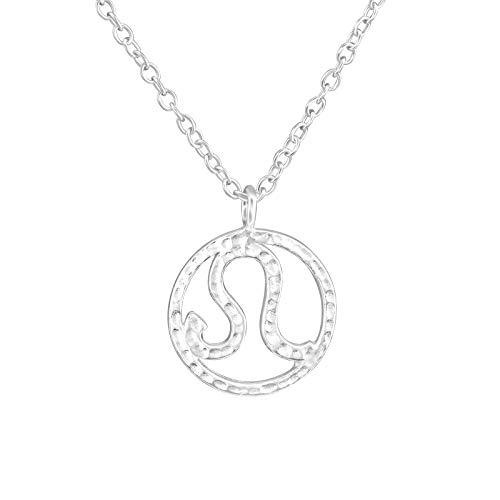 Tata Gisèle© Collar en Plata 925/000Circona-Colgante Signo Zodiacal Leo Zodiaco-Martillado-45cm