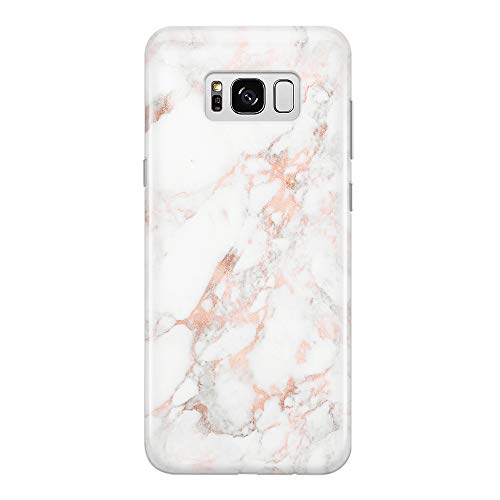 uCOLOR Case Compatible for Samsung Galaxy S8 Rose Gold White Marble Slim Shockproof Luxury Fashion Silicone Soft Rubber TPU Protective Case for Galaxy S8