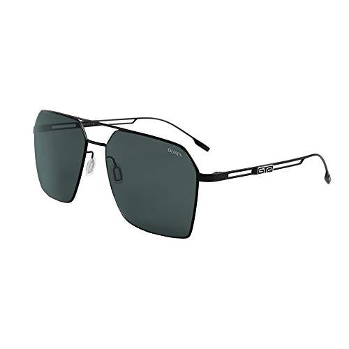 VIVIENFANG, occhiali da sole rettangolari da uomo (lenti in nylon autentiche di alta qualità, protezione UV400), occhiali quadrati dal design classico 180704 Telaio nero opaco/lente fumé L