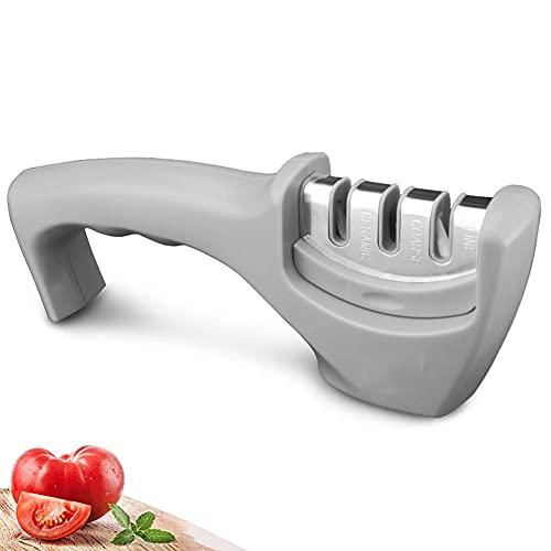 BAWAQAF Afilador de cuchillos, herramienta de afilado de cuchillos de acero inoxidable de diamante de 3 etapas, herramienta de cocina de cuchillo de cerámica de carburo afilar piedra