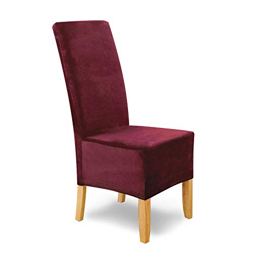 SCHEFFLER-Home Puma Velvet Fundas de sillas, Estirable Cubiertas, Terciopelo extraíble Funda con Banda elástica, Bordeaux, Juego de 4