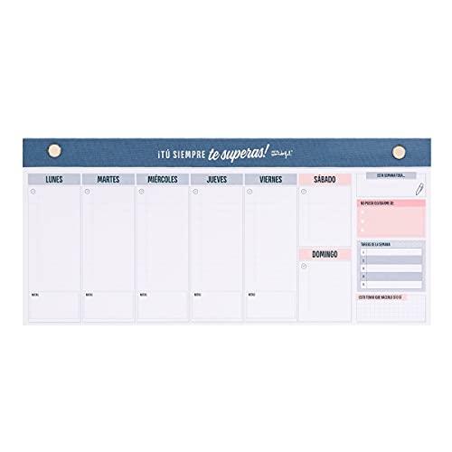 Mr Wonderful Organizador semanal estrecho para planificarte fenomenal, Multicolor