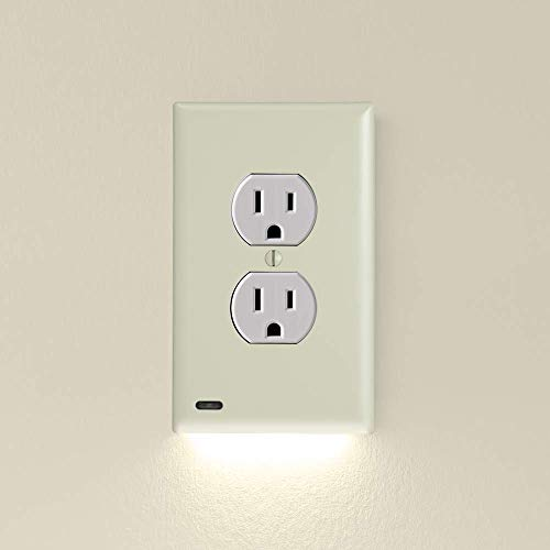 Single - SnapPower GuideLight 2 for Outlets [New Version - LED Light Bar] - Night Light - Electrical Outlet Wall Plate with LED Night Lights - Automatic On/Off Sensor - (Duplex, Ivory)