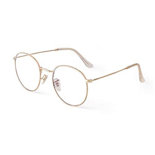 GIFIORE Runde Brille mit Blaulichtfilter Linse Dünner Metallrahmen Trendige Unisex für PC, TV, und Computerbrille