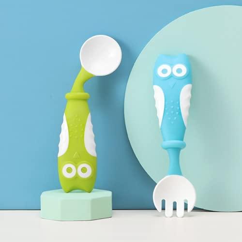 Buho codo cuchara bebé niños dibujos animados entrenamiento tenedor cuchara set portátil alimentación complementaria vajilla (Azul verde)