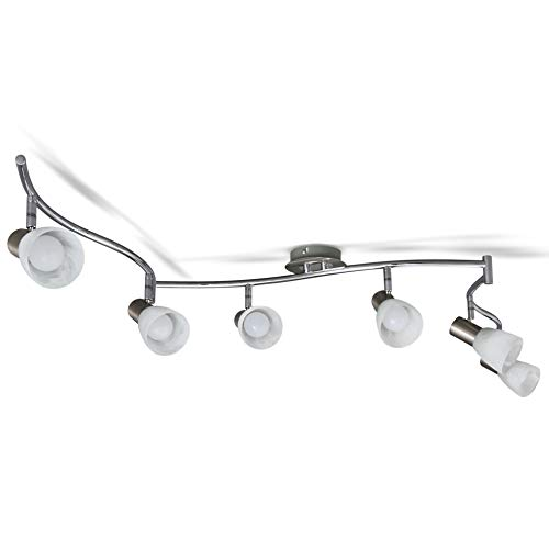 B.K.Licht schwenkbare LED Deckenleuchte I 6-flammig I drehbar I inkl. 6x 5W E14 LED Leuchtmittel l 6x 470lm I Deckenlampe I Spotlampe I Länge: 178cm