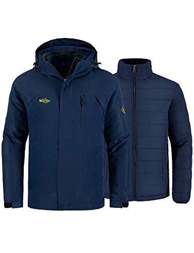 Wantdo Men's 3-in-1 Ski Jacket Raincoat Cotton Padded Casual wear Dark Blue XL