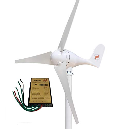 Marsrock Small Wind Turbine Generator AC 12Volt 400W Economy Windmill with MPPT Controller for Wind Solar Hybrid System 2m/s Start Wind Speed 3 Blades (400Watt 12Volt)