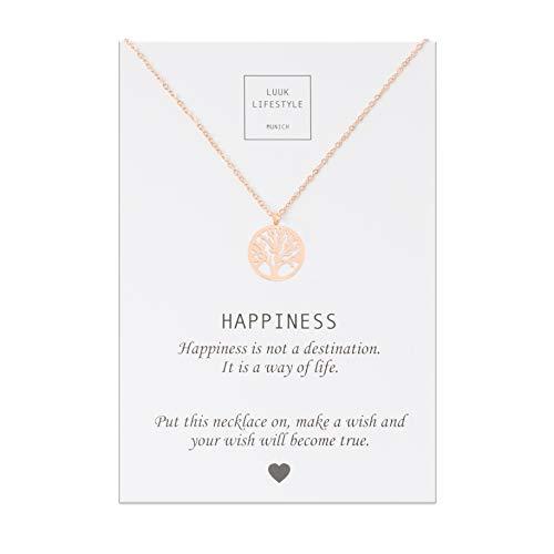 LUUK LIFESTYLE Edelstahl Halskette mit Lebensbaum Anhänger und Happiness Spruchkarte, Glücksbringer, Damen Schmuck, rosé