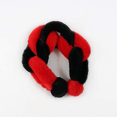 Alvnd schattige imitatiebont sjaal warme mode kleur naaien sjaal nekwarmer wraps voor mannen vrouwen (27,5 inch L x 3,9 inch W) 70×10CM E