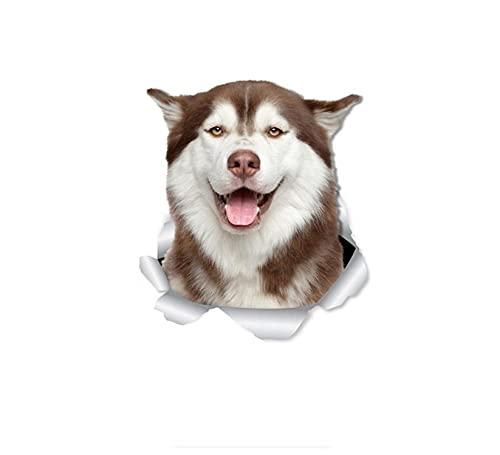 MDGCYDR Pegatinas Coche Personalizadas Calcomanías De Pared De Perro Husky Siberiano Feliz De 30 Cm, Calcomanías 3D De Husky para Paredes, Coches, Baño