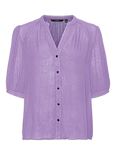 Vero Moda VMJANE SS Shirt Wvn GA Maglia in Tessuto, Lilla Pastello, XS Donna
