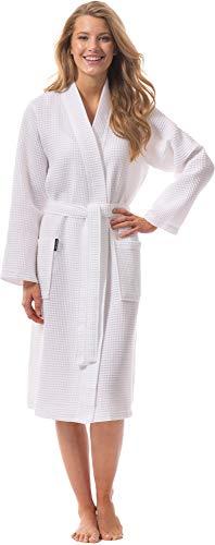 Morgenstern Bademantel für Damen aus Bio Baumwolle ohne Kapuze in Weiß Baumwoll Bademantel wadenlang Waffelpique Mantel Coton Waffelpique Größe L Paula