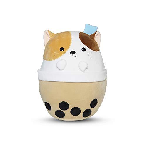 Avocatt Boba Cat Plush Toy - 10 Inches Ice Bubble Milk Tea Asian Comfort Food Soft Plush Toy Stuffed Animal - Kawaii Cute Japanese Anime Style Gift