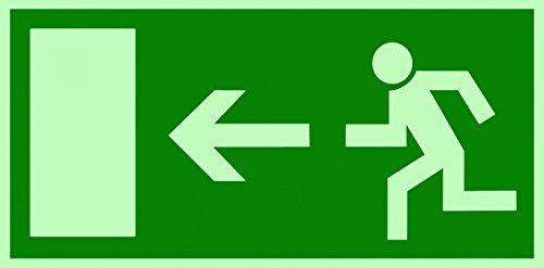 Rettungszeichen Symbolschild Fluchtweg/Notausgang links DIN Kunststoffplatte lang nachleuchtend 300x150mm