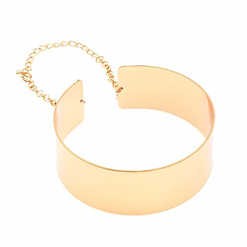 W WOOGGE Choker Necklace for Women Men Costume Egypt Queen African Collar Necklace Girl Boy Cosplay Punk Accessory (Gold)