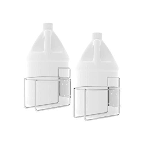 Wall Mounted Gallon Jug Holder Hardware Included | Heavy Duty Steel Frame & Bracket USA Made | Round Bottle Hand Sanitizer, Soap, Detergent & Garage Storage Rack | Powder Coated White 2pk