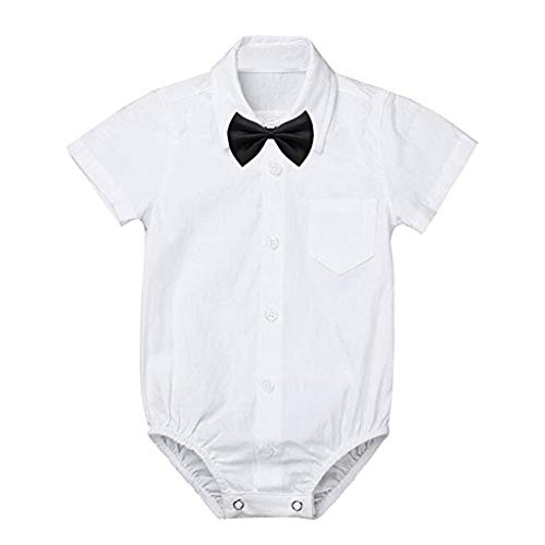 Great Features Of Newborn Toddler Baby Boys Gentleman Romper Short Sleeve Bow Formal Shirt Bodysuit Wedding Party Outfits with Pocket Fineser (White, 18-24 Months(110))