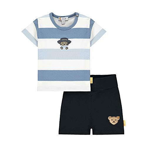 Steiff Set Hose+T-Shirt Juego de pantalón y Camiseta, Color Azul, 74 cm para Bebés