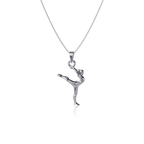 Dayna Designs Gymnastics Pendant Necklace - Sterling Silver Jewelry Small for Women/Girls
