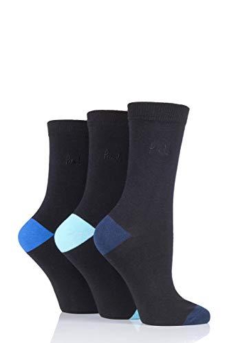 Pringle Damen 3 Paar Terri-Ann mit farblich abgesetzter Ferse & Zehen Socken (Blaus, 37/41)