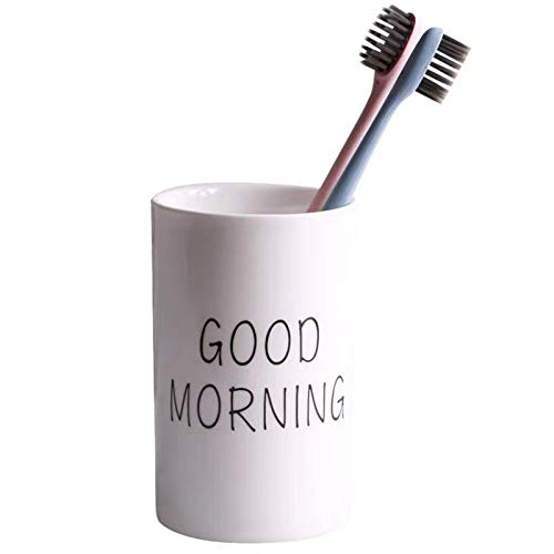 Corikee Ceramics Toothbrush Cup for Bathroom - Holder for Toothbrush/Toothpaste/Makeup Brush/Eyebrow (Morning)