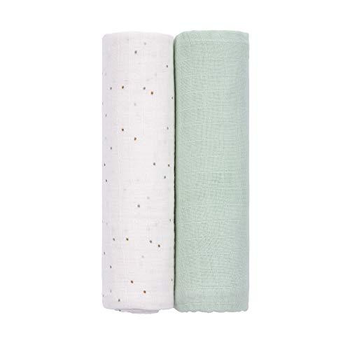 LÄSSIG 1312012250 Baby Puckdecke Spuckdecke Mulltuch Muslin Baumwolle weich 2 Stk. 120 x 120 cm/Swaddle & Burp Blanket XL About Friends Racoon, grün