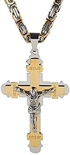 NC198 Punk Acero Inoxidable 24 5mm Gargantilla Link Conjuntos de joyería bizantina Collares de Cadena Colgantes Cruz de Jesús para Hombres Color Dorado