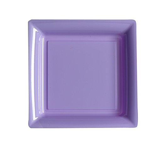 ISAP 12 Assiettes carrées en Plastique Lilas 23,5 cm