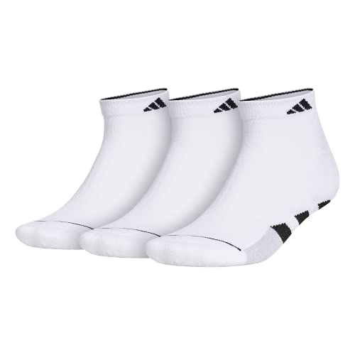 adidas Men's Cushioned Low Cut Socks (3-Pair), White/Black/White - Clear Onix Marl, Large, (Shoe Size 6-12)