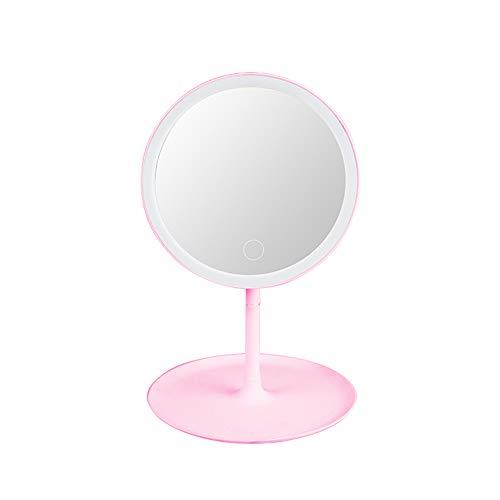 Bedler Interruptor de pantalla L-ED Retroiluminado Maquillaje Espejo Natural Luz Blanca Base Desmontable Maquillaje Espejo