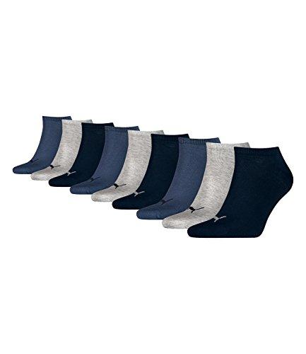 Puma unisex Sneaker Socken Kurzsocken Sportsocken 261080001 9 Paar, Farbe:Mehrfarbig, Menge:9 Paar (3 x 3er Pack), Größe:39-42, Artikel:-532 navy/grey/nightshadow blue