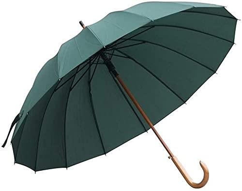 Paraguas de madera con mango en J, anti-ultravioleta, paraguas grande a prueba de viento, paraguas de golf para hombres y mujeres que se abren automáticamente