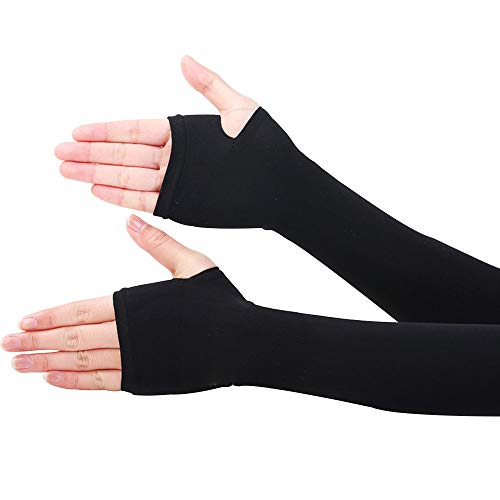 CHRISLZ Long Arms Sleeves Guantes UV Protección solar Fundas para la mano Fingerless Elastic Stretch Brazo Guantes para actividades al aire libre Enfriamiento Covers (BLACK-1)