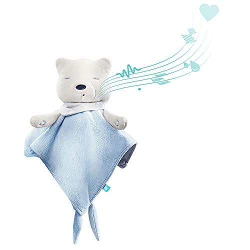 myHummy avec capteur doudou bleu blanc premium | Peluche bruit blanc bébé | Machine à bruit blanc - battement coeur bruit des vagues | my hummy avec capteur de sommeil peluche endormissement bebe
