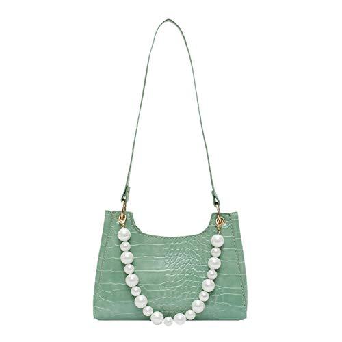 Ladies handbags shoulder bags solid color ladies handbags-Green