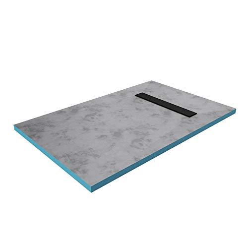 MARWELL Duschelement 80 x120 x 4 cm direkt befliesbar mit integrierter Ablaufrinne in schwarz und waagerechtem Ablauf - bodeneben und barrierefrei einbaubar - integriertes Gefälle