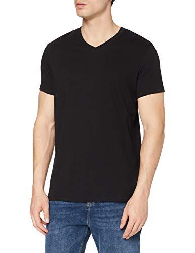 MERAKI Herren Slim Fit-T-Shirt Mit V-Ausschnitt, Schwarz (Black), L, Label: L
