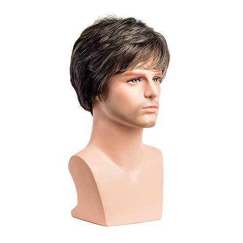 Parrucca Bob da uomo Parrucca sintetica riccia corta per uomo bello, fibra resistente al calore Parrucca cosplay elegante, uso quotidiano, naturale come reale