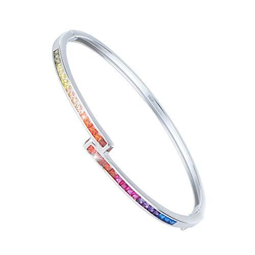 nobrand Homosexuell Armband einfache Stil gelb rosa blau blau lila rot bunten Regenbogen Armband Armreif für Frauen 3mm Breite S925 Sterling Silber Armband Geschenk