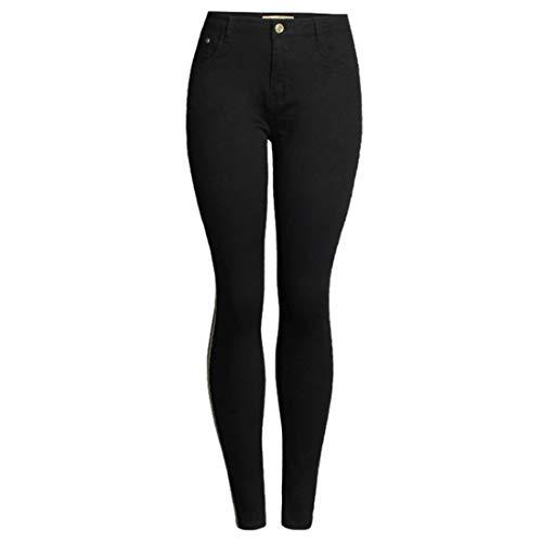 ZOSYNS Pantalones vaqueros de mujer primaveral monocolor negro de tiro medio, ajustados, informales, deportivos, tallas S-3XL Negro S