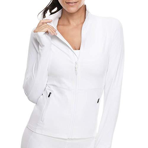 VUTRU Damen Laufjacke Slim Fit Sportjacke voll Reißverschluss Yoga Jacke Langarm Trainingsjacke mit Daumenloch Weiß L