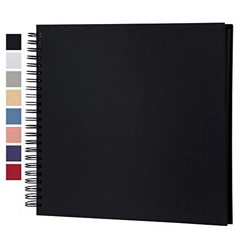potricher 8 x 8 Inch DIY Scrapbook Photo Album Hardcover Kraft Blank Black Page Wedding and Anniversary Family Photo… |
