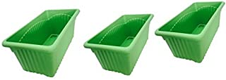 First Smart Plastic Rectangle Pot (Green, Pack of 2)