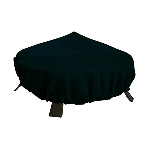 QEES Fire Pit Cover, Waterproof Garden Barbecue Cover, Heavy Duty Round Outdoor Patio Heater Protector for Any Weather Condition (1#Black)