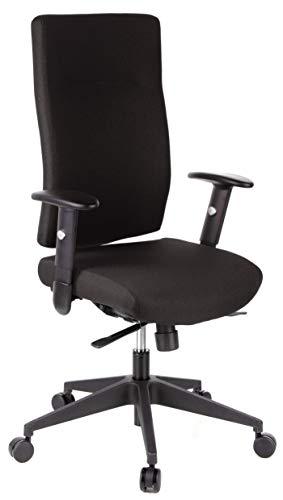 hjh OFFICE 608500 Profi Bürodrehstuhl PRO-TEC 300 Stoff Schwarz Bürosessel ergonomisch, hohe Rückenlehne, Armlehne verstellbar