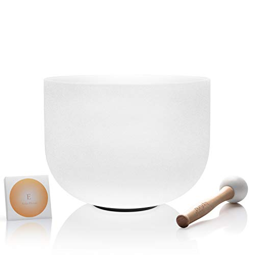 TOPFUND E Note Quartz Crystal Singing Bowl Solar Plexus Chakra 10 inch O-ring and Rubber Mallet included