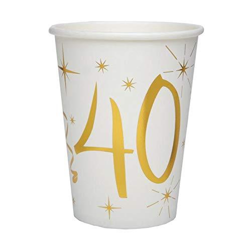 Chal - 20 Gobelets Anniversaire 40 ans blanc et or