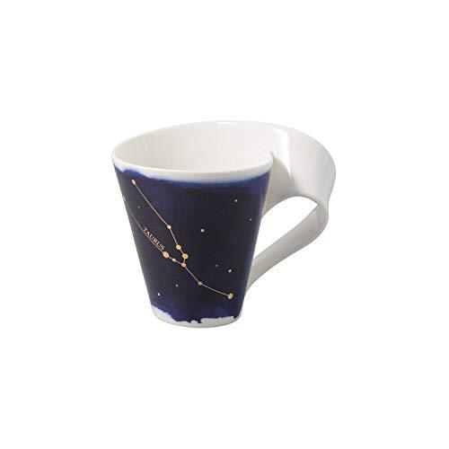 Villeroy & Boch - NewWave Stars Becher mit Henkel, formschöne Tasse mit Stier-Motiv, Premium Porzellan, spülmaschinengeeignet, weiß/blau, 300 ml